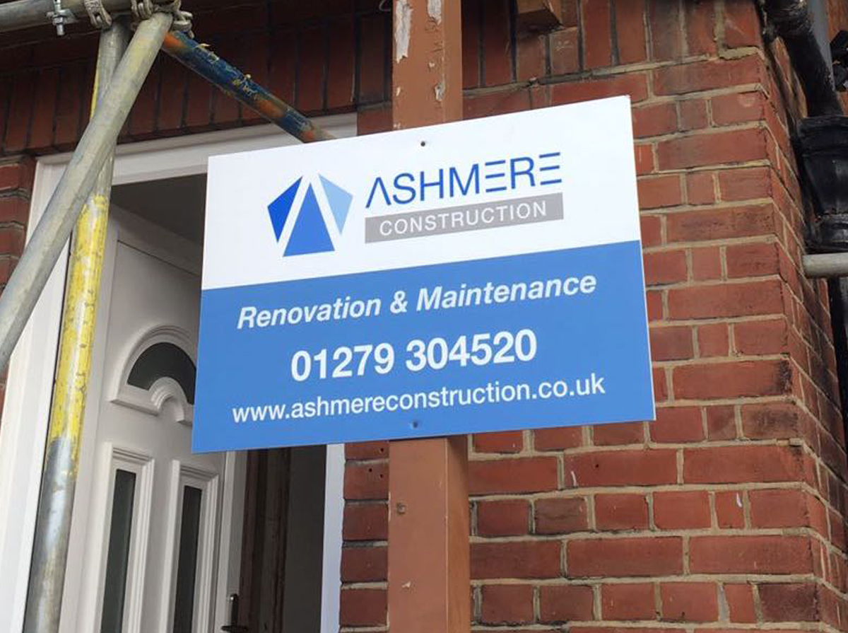 Ashmere Construction sign on house under construction
