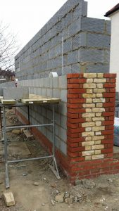 brick wall being built