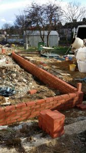 boundary wall of new extension under construction